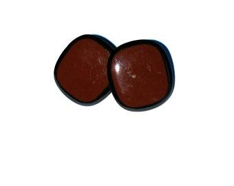 Brown and Black Enamel Earrings / Vintage Earrings