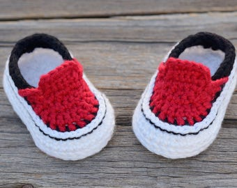 Ready to Ship!  3-6 Month Crochet Baby Boy Sneakers, Red Crochet Baby Boy Shoes, Booties, Photo Prop, Baby Gift