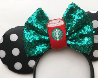 "Polka dot starbucks ""red cup"" mouse ears"
