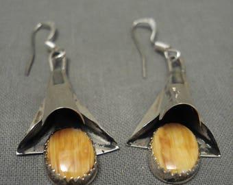 Rare Navajo Yazzie Orange Shell Silver Earrings
