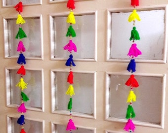 Pompom-Tassels Door and Wall hangings,  Door and Wall decoration/Indian traditional wall hanging, home Decor