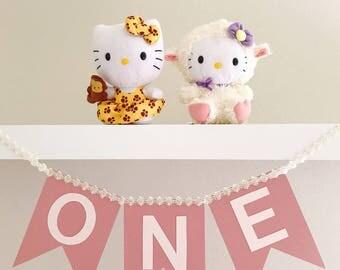 1st Birthday Banner, Pink Birthday Banner, Baby Shower Banner, Party Decoration, Birthday Decoration