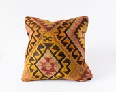 Vintage Turkish Kilim Pillow, Pastel Pillow, Bohemian Decorative Pillow, Boho Pillow, Orange Pillow, Vintage Pillow, Kilim, Tribal Pillow