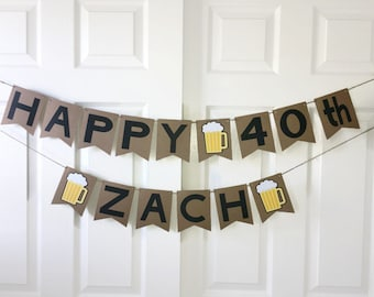 Beer Birthday Banner. Men Beer Party Decoration. Personalised 30th Birthday Banner. Happy Birthday Decoration Party