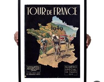 Large Tour de France 1949 magazine cover print