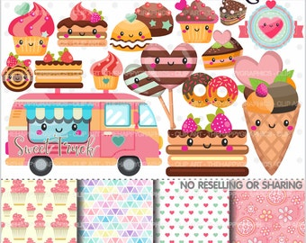 Sweets Clipart, 80%OFF, Sweets Graphics, COMMERCIAL USE, Planner Accessories, Sweets Party, Bakery, Food, Cake, Dessert, Cupcake