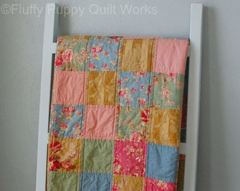 Patchwork Quilt, Traditional Style Throw Quilt, Classic Elegant Lap Quilt, Country Sofa Throw, Floral Pink Blue Green Gold Quilt