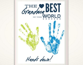 Best Grandma Gifts, Grandma Gift from GrandKids, Worlds Best Grandma, Personalized Grandma Gift from Kids, Handprint Art Print, DOWNLOADABLE