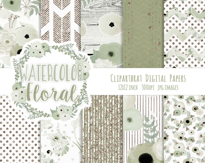 WATERCOLOR FLORAL Digital Paper Pack Sage Green & Rose Gold Metallic Commercial Use Digital Paper Wood Arrows Bohemian Wedding Digital Paper