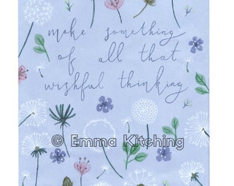 Wishful Thinking floral illustration with dandelion pattern - Digital A5 print