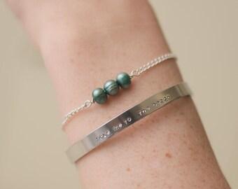 Beach Bracelet - Hand Stamped, Freshwater pearls
