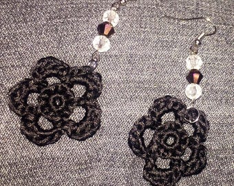 Black Flower Earrings, Drop Earrings, Crochet Earrings, Black Earrings, Amethyst Iris Jewelry, Flower Earrings, Gift for Her, Gift for Mom