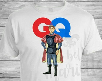 Custom Men's Prince Philip Sleeping Beauty GQ Magazine T-shirt - Mens Sleeping Beauty Shirt - Mens Custom Disney Shirt