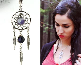 Dream catcher necklace Purple dreamcatcher Fantasy necklace Zen jewelry Purple necklace Boho necklace Sweet dreams Jewelrygift for her