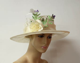 Ivory/white flowers/green leaves Sinamay Hat, Elegant, Kentucky Derby Hat, Wedding Hat, Church Hat, Easter,Prom, Formal Hat, Dressy Hat,