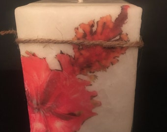 4x4 Hibiscus flower boutiqed square pillar candle