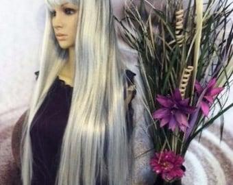 Human hair blend Ombré black highlights with silver gray hair  bang wig 27''