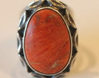 Chunky sterling silver coral stone ring size 5.5 signed