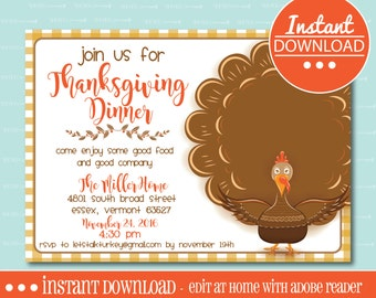 EDITABLE THANKSGIVING DINNER Invitation - Instant Download - Editable File - Personalize - Edit Yourself with Adobe Reader-Printable, Turkey