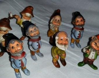 Vintage Set of 8 (5 styles) Bone China Dwarfs, stamped Hong Kong (Free Shipping)