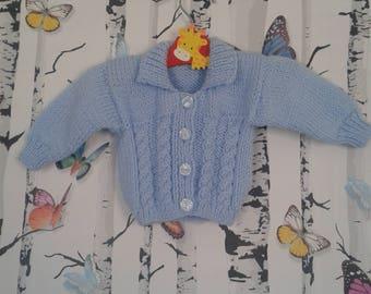 Newborn Cardigan, Baby Boy, Newborn Boy, Blue Cardigan, Knitted Cardigan, Handmade, Hand knitted