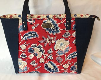 Red and  Blue Floral Everyday Tote