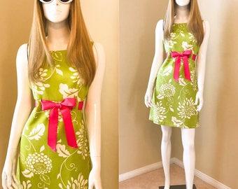 Mod Summer Dress 60's Style  Green Sundress Floral Mini Dress, Floral Shift Dress APPLE Green and PINK Dress- size 8