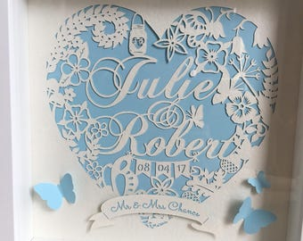 Personalise name or wedding papercut in a box frame