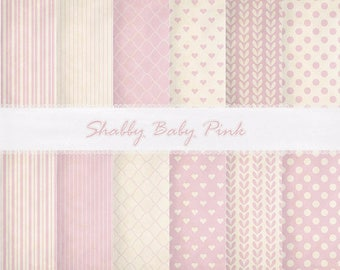 Shabby Chic Baby Pink Digital Paper-Baby Girl Digital Paper-Heart Digital Paper-Printable Shabby Chic Paper-Pink Background-Instant Download