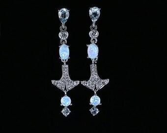 Opal Aquamarine Diamond Earrings Long Earrings 18ct White Gold