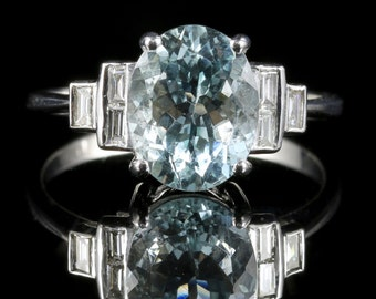 Aquamarine Diamond Ring 18ct Gold 3.5ct Aquamarine Baguette Cut Diamonds