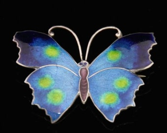 Antique Enamel Butterfly Brooch Sterling Silver
