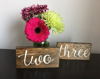 Wedding Table Numbers Rustic Wood Printed