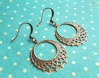 Filigree Copper Drops . Earrings
