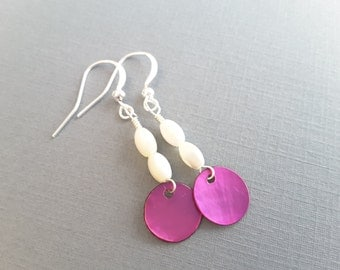White and Deep Lilac Drops . Earrings