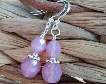 Cloudy Pink Drops . Earrings