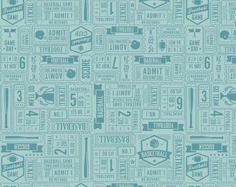 Aqua Sports Ticket Quilt Fabric - Game Day - Riley Blake Designs - Lori Whitlock