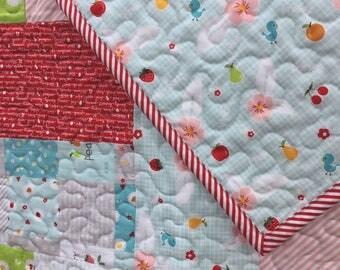 Cherry Baby Quilt, Girl Quilt, Toddler Bedding