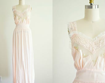 1950s pink nylon and lace nightgown . vintage 50s long slip . retro pin up lingerie by Superfit . large