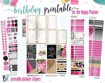 Birthday | Weekly Printable Planner Kit | Planner Stickers | Cut Line Files | for use with Happy Planner | Planner Stickers Printables
