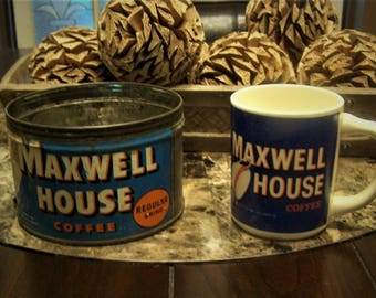 Vintage Maxwell House Coffee Can Tin and Coffee Mug/Cup