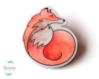 Animal lapel pin, Fox, Animal totem, Brooch