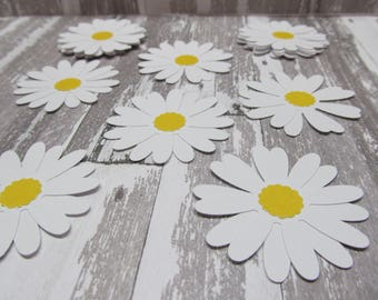 25ct White Daisy Gift Tags - Favors - Die Cuts - Card Making - Wedding Wish Tags - Cupcake Toppers - Confetti