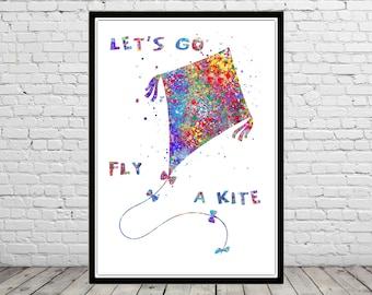 Let's go fly a kite, watercolor kite, fly a kite, kite print,  watercolor print, Nursery, Kids Room Decor, waterolor nursery (3089b)