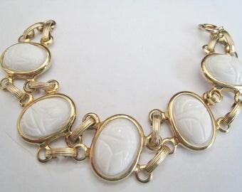 White Faux Scarab Bracelet