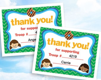Cookie Sales Thank You Cards, instant download, customizable PDF for Girl Scout troop