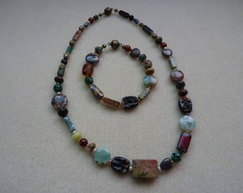 Natural Stone Beaded Necklace and Bracelet
