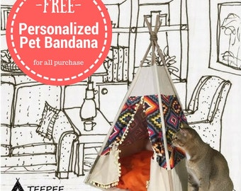 Pet bed teepee tent: various sizes,dog beds,cat beds,rabbit teepee,cat tents,pet tipi,cat teepee tent, dog teepee,handmade & unique