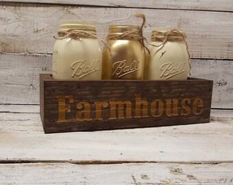 Farmhouse Decor, Mason Jar Decor , Rustic Decor,  Mason Jar Centerpiece, Rustic Mason Jar Decor