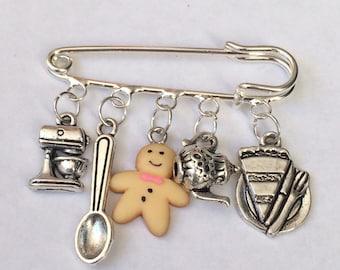 Baking Charm Pin/ kilt pin charm brooch